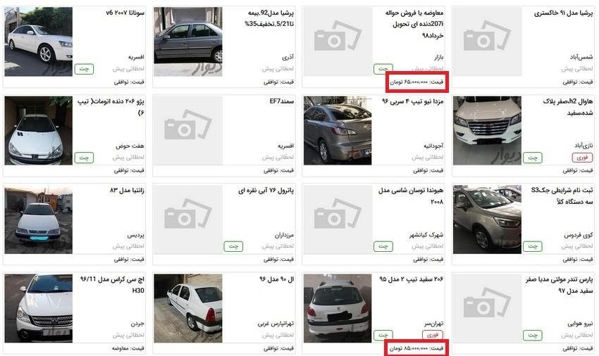درج قیمت خودرو و مسکن در آگهی های فروش به سایت ها بازگشت