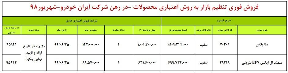 طرح فروش جدید ایران خودرو برای امروز 20 شهریور 98.jpg