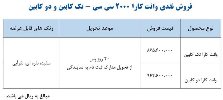 جدول شرایط فروش نقدی وانت کارا برای مهر 98